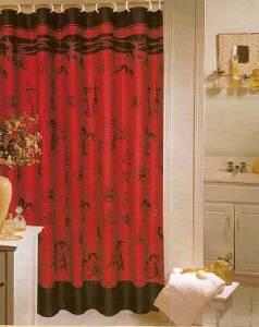 Nip Red Black Asian Chinese Bamboo Fabric Shower Curtain Ebay