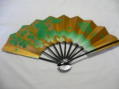 JAPANESE-Sensu-Fan-With-the-wind-Folding-Green-NEW