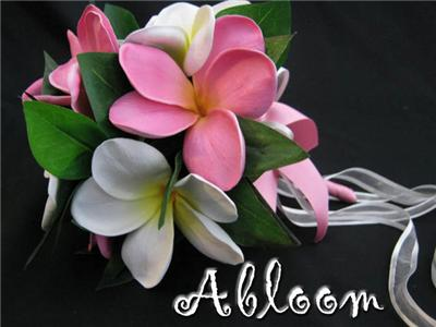 Real Touch Wedding Flowers on White   Fuschia Pink Real Touch Frangipani Wedding Set