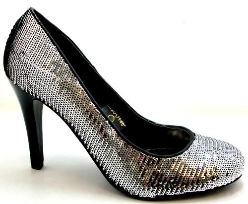 womens platino bling black silver sequin high heel shoes