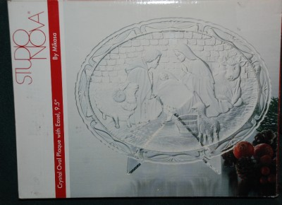 mikasa studio nova holiday crystal oval nativity plaque w easel 9 5