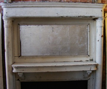 Antique Wooden White Distressed Painted Fireplace Old Mantle Mantel Ebay