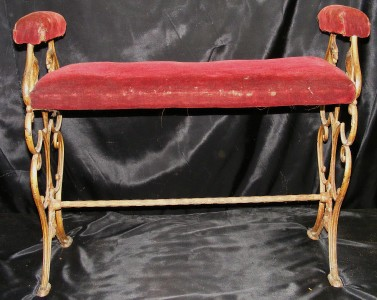 Old Antique Cast Iron Vanity Bench Stool W Red Velvet