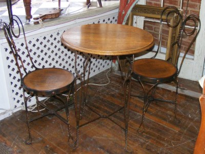 Parlor Chairs on Old Antique 3 Pc Ice Cream Parlor Table 2 Chair Set Wood  Copper - Hairdressing Chair Salon Chair - OUTDOOR DINING CHAIRS