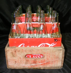 Antique Coke Bottles 16 Oz http://www.ebay.com/itm/Vintage-Coca-Cola-Classic-Wood-Crate-Carrier-w-24-16-oz-Glass-Coke-Bottles-/200743440912