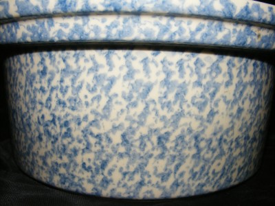 Roseville Ohio Blue Speckled Spongeware Stoneware Pottery