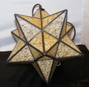 hanging pendant light fixture moravian star sand colored glass w brown. Black Bedroom Furniture Sets. Home Design Ideas