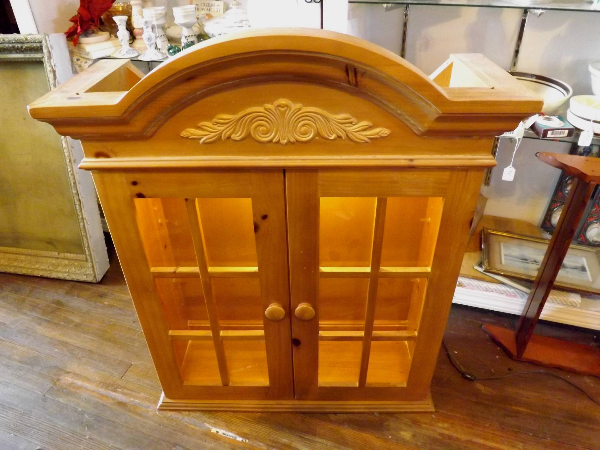Hutch Display Cabinet Pine Wood Lighted Curio Cupboard Display Cabinet Pantry Home Top
