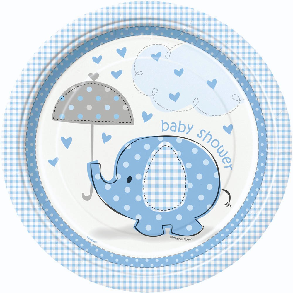 8 blue umbrella elephants baby shower party plates baby for Baby boy shower decoration kits