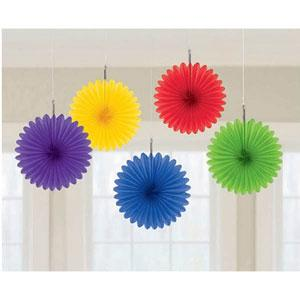 5 Mini Rainbow Coloured Hanging Fans Party Decorations Online