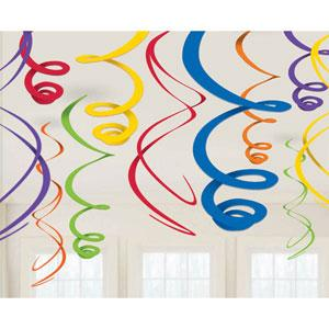 12 Primary Rainbow Coloured Ceiling Swirls Kids Party Decorations