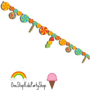 Sugar Buzz Ribbon Banner Kids Party Decorations Candy Buffet Supplies