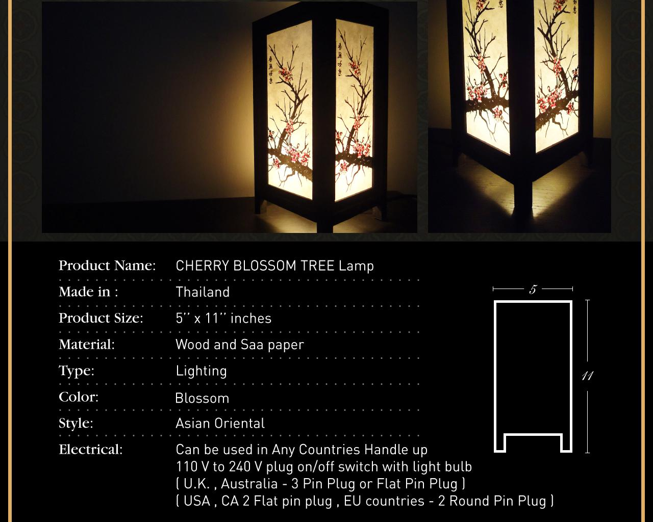 Asian Oriental CHERRY BLOSSOM TREE Bedside Floor or Table Lamp Wood