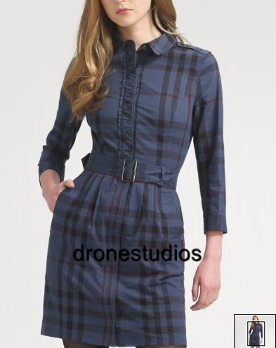 Nwt burberry brit blue check plaid belted shirt dress 4 for Burberry brit plaid shirt