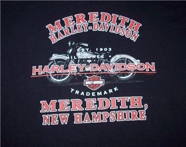 Meredith New Hampshire Harley Davidson Motorcycles T Shirt 2XL