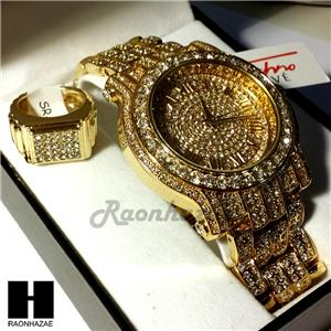 Pave hip hop iced out rapper gold finished simulated for Rapper watches