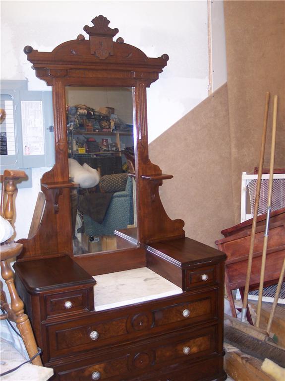 Walnut Eastlake Marble Top Dresser With Mirror Dr3 Ebay