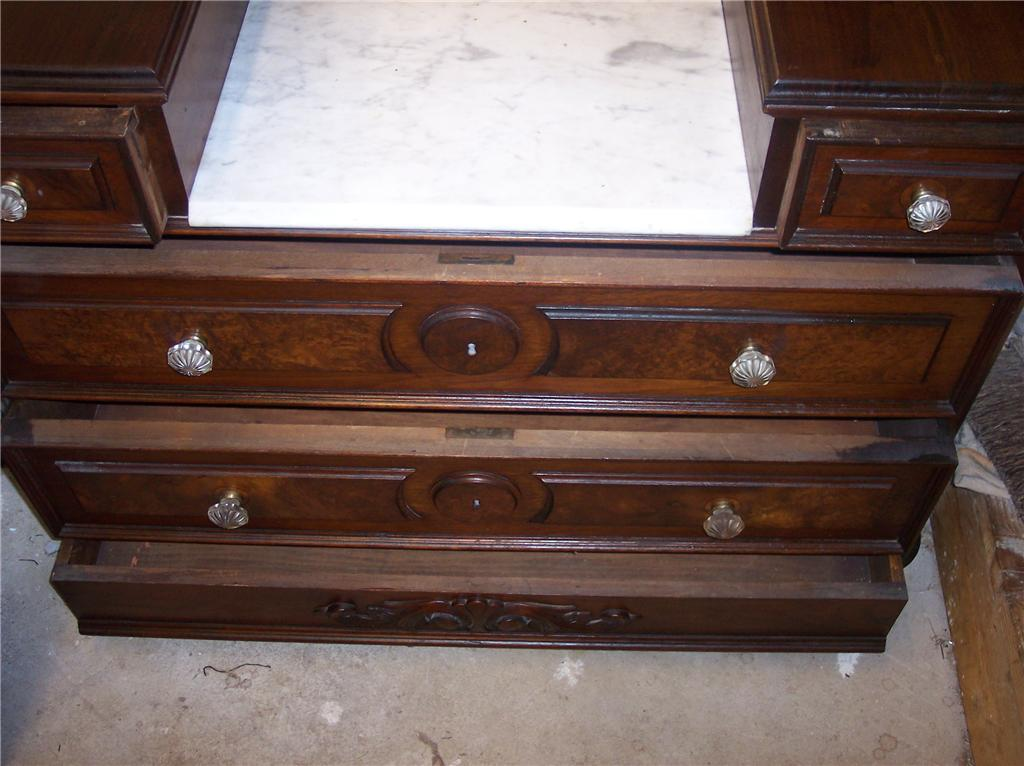 Walnut Eastlake Marble Top Dresser With Mirror