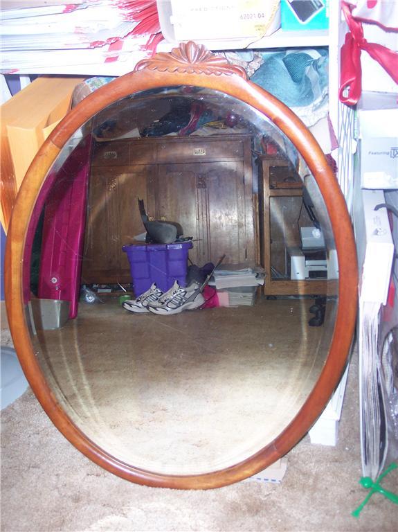 Oval Mahogany Mirror/Wall Mirror