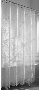 NEW White Sheer Lace Floral Rose Fabric Shower Curtain w
