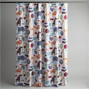 Elephant Jungle Safari Animal Bath Shower Curtain w 12 Hooks Bath Rug