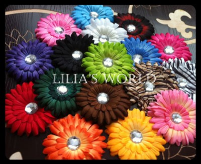 17 Gerber 4 inch Hair Daisy Flowers for girls, kufi hats bow