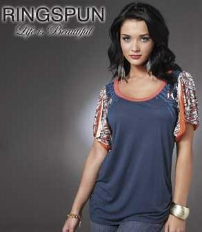RINGSPUN-LADIES-WOMENS-NAVY-BLUE-CACTUS-TOP-T-SHIRT-BLOUSE-SIZE-8-10-NEW