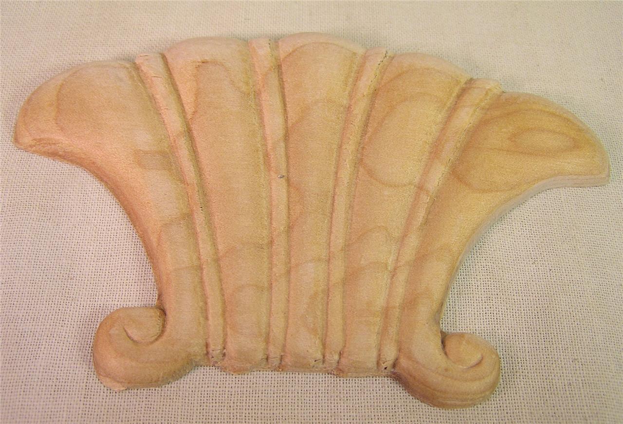 6 Wood Carved Decorative Embellishments Furniture Hardware