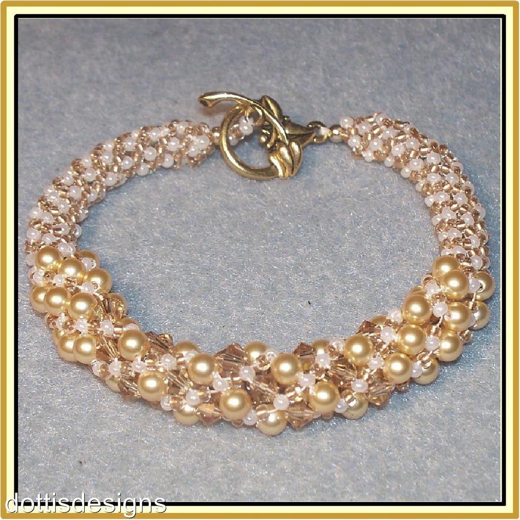 swarovski pearl spiral woven beaded bracelet