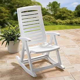 Outdoor White Resin Rocking Chair Porch Rocker Deck Folding Foldable ...