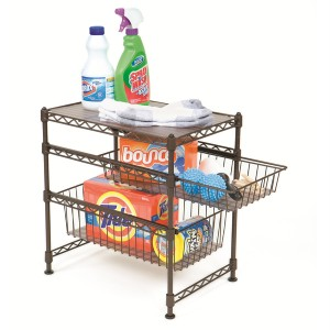 3tier steel wire rack sliding drawer shelf kitchen cabinet basket pantry laundry. Black Bedroom Furniture Sets. Home Design Ideas