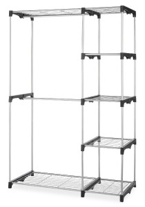 New Free Standing Closet Insert 2 Rod 5 Shelf Organizer