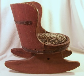 Vintage folk art child or doll whiskey barrel rocking chair rocker