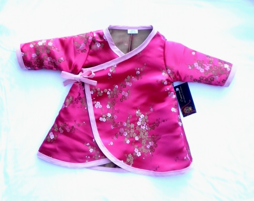 Pink Cherry Long Sleeve Kimono baby girl dress Toddler