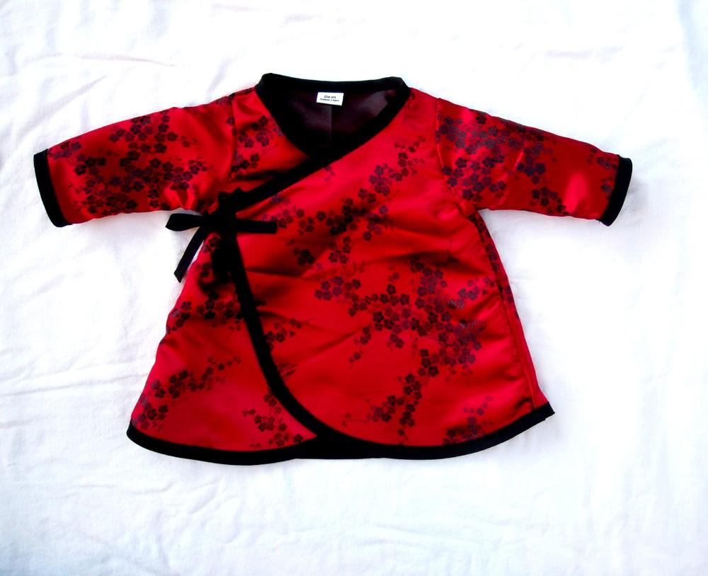 Red Cherry Long Sleeve Kimono baby girl dress formal