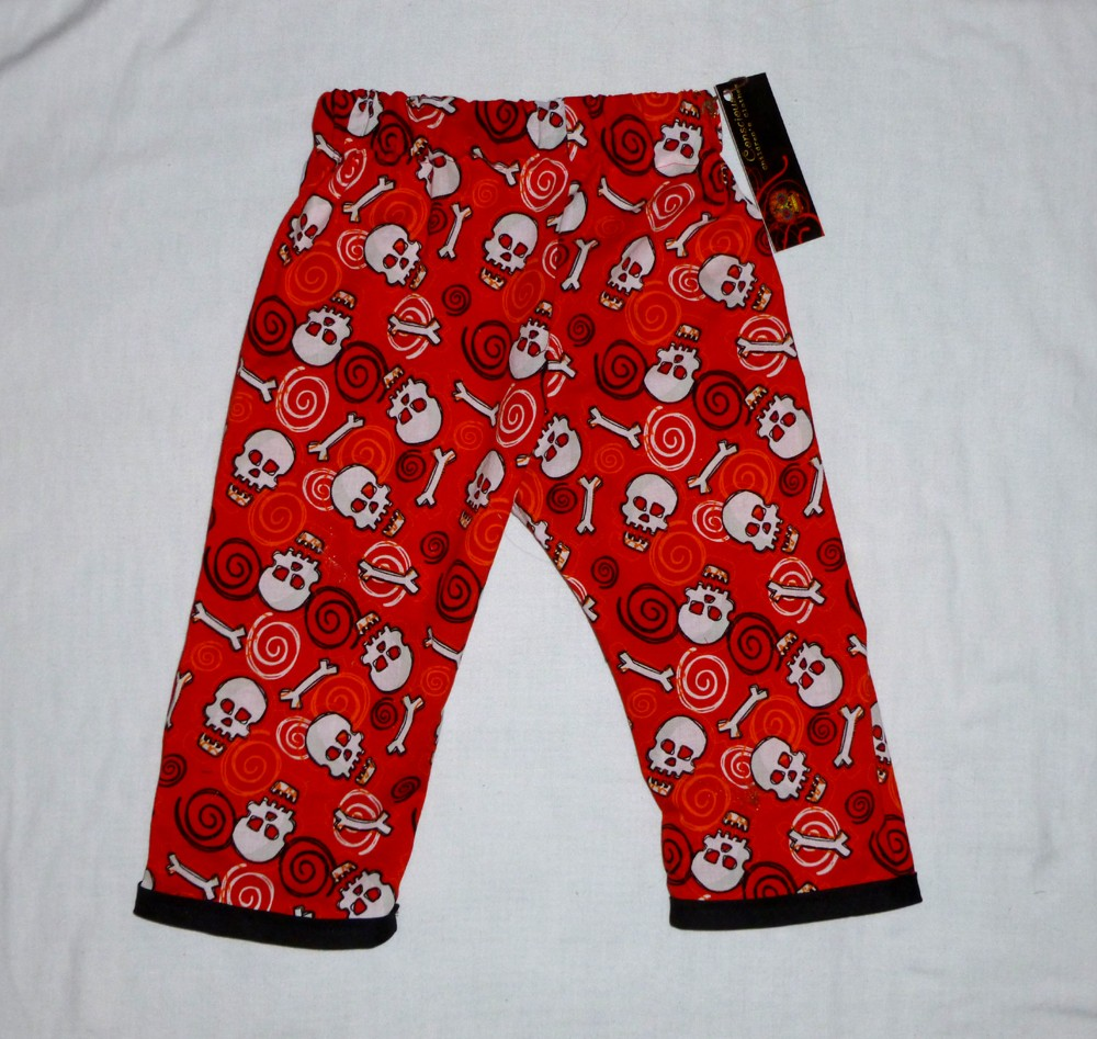 New-Punk-Skulls-Goth-Orange-Red-Black-boy-Baby-bottoms-newborn-kid-toddler-pants