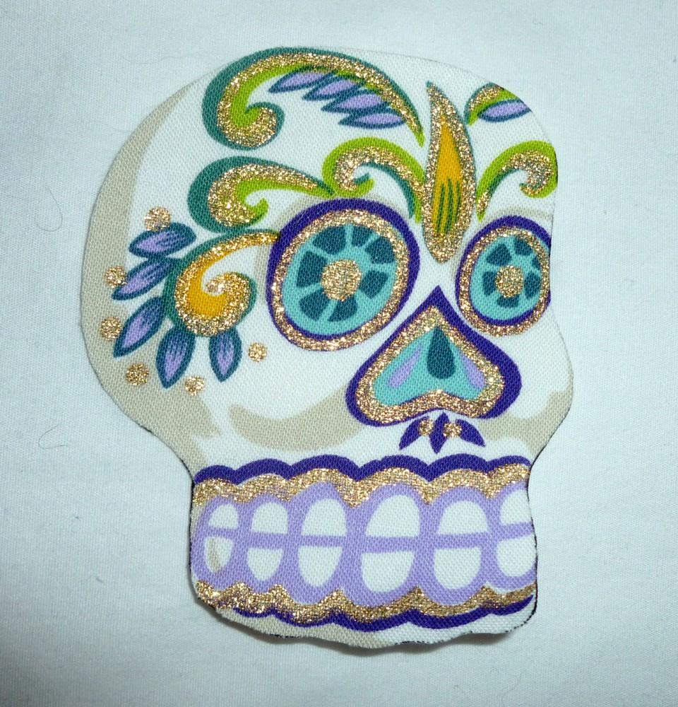 new big sugar skull diy iron on fabric appliques t shirt. Black Bedroom Furniture Sets. Home Design Ideas