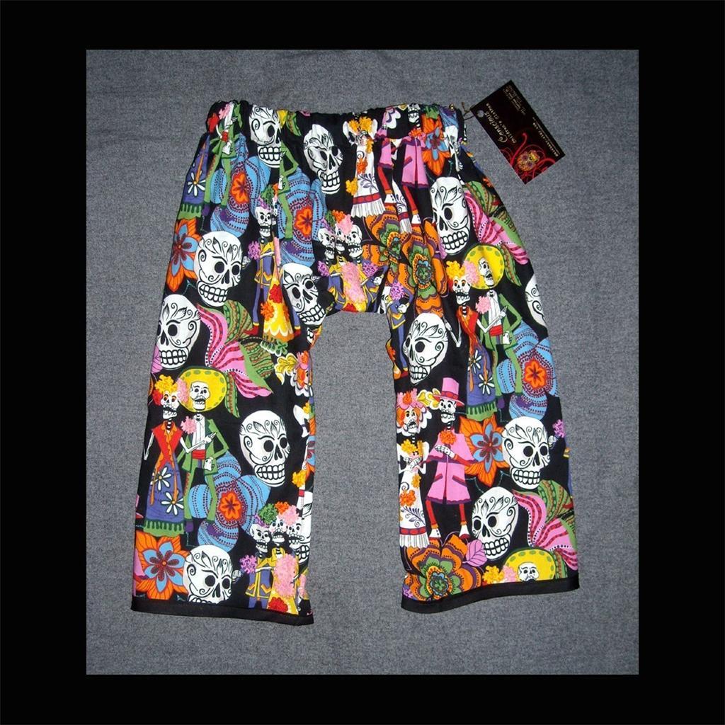 Of the dead skeleton toddler baby pants clothes punk sugar skull black