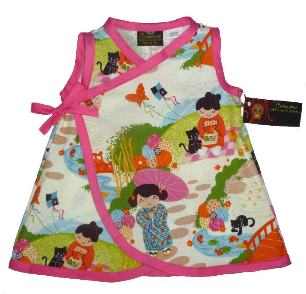 New Punk Geisha Cherry Blossom Pink Kimono Wrap toddler