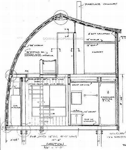 Arch Rafter House Cabin Plans Blueprints Modified A Frame