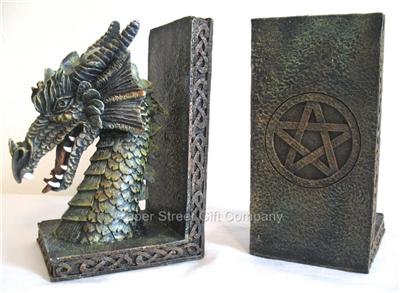 7 medieval green dragon head bookends detailed sculptures celtic knot design ebay - Dragon bookend ...