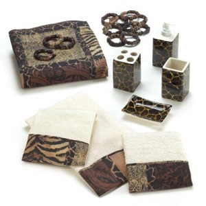 African Safari Jungle Leopard Print Bathroom Set Shower