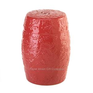Barrel Shaped Ceramic Chinese Garden Stool Side Table Red