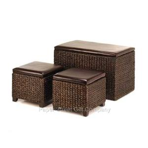 STORAGE SET Large Trunk Coffee Table 2 Side Tables Ottoman S Wicker