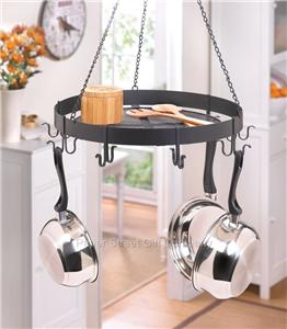 Black round kitchen pot pan holder overhead hanging for Overhead pots and pans rack