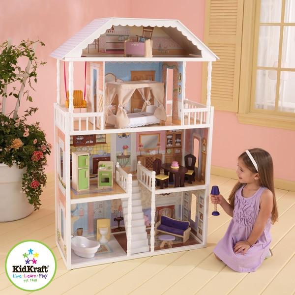 Kidkraft savannah girls dolls house kids wooden doll house for Maison moderne kidkraft