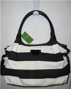 Auth KATE SPADE STEVIE Jubilee Stripe shoulder bag Purse Black Cream