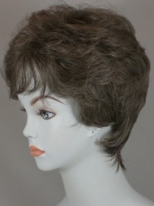 Details about Gray, Salt & Pepper Short & Wavy Wig, Tapered w/Bangs