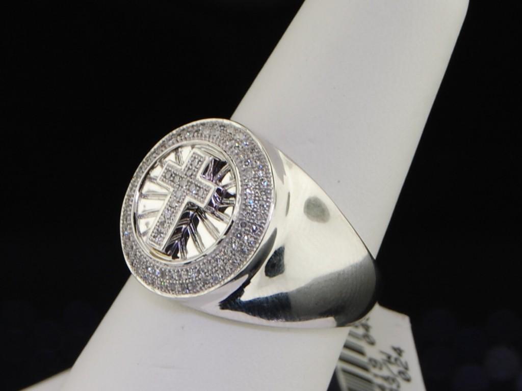 MENS 50 CT CROSS DIAMOND PINKY RING WEDDING BAND PAVE EBay