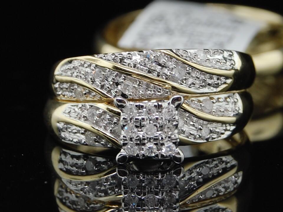MENS LADIES 1OK YELLOW GOLD DIAMOND ENGAGEMENT 3 RING MATCHING TRIO